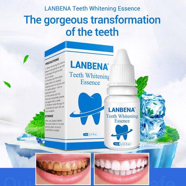 LANBENA dientes blanqueamiento esencia polvo higiene bucal limpieza suero elimina las manchas de placa diente