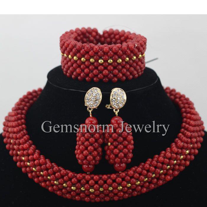Handmade African Big Coral Beads Jewelry Set Chunky Nigerian ...