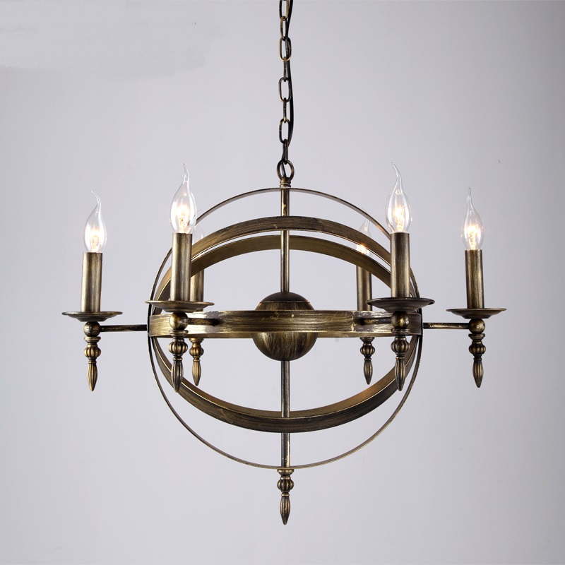 Multiple Chandelier lights wrought iron lamp living room lamp bedroom den nostalgia bronze wrought iron ZX87