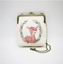Angelatracy 2018 Vintage Retro Floral Hoop Deer Olive Branch Cartoon Printing Phone Cotton Summer Women Shoulder Crossbody Bag