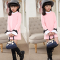 Fashion sweet autumn Cotton long sleeve girl dresses 100-160cm Children's Clothing elasticity base dress baby girl clothing