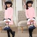 Moda sweet outono manga longa de algodão vestidos da menina 100-160 cm roupa das crianças base de elasticidade do bebê vestido da menina roupas