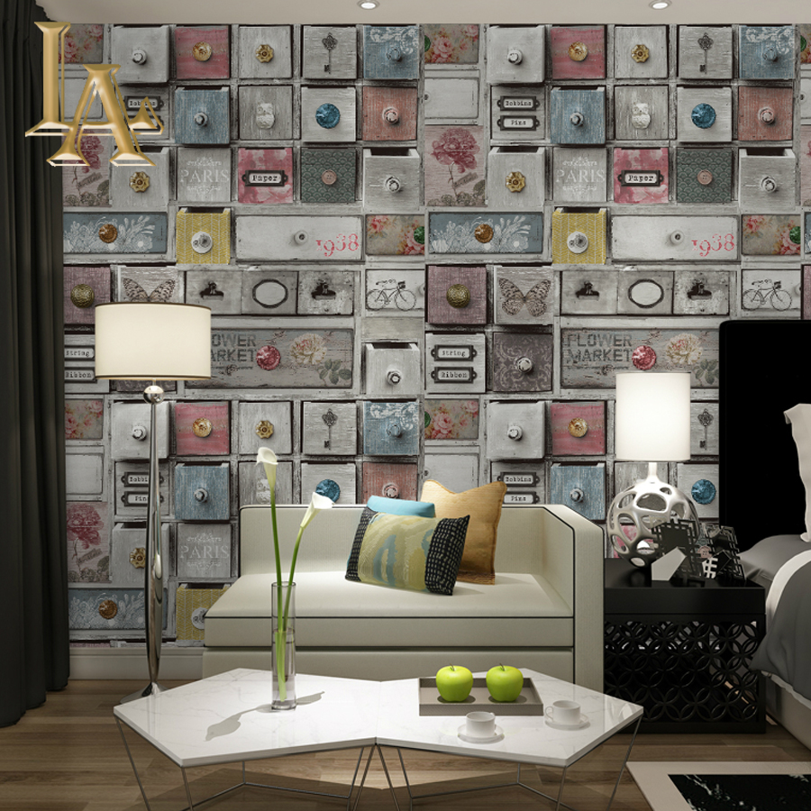 NoEnName_Null modern Vintage Wooden Drawer 3D Art Wall Wallpaper Home Decor Vinyl Wall Paper Rolls For Bedroom Living room wallpaper removable art vinyl quote diy wall sticker decal mural home room decor 350003
