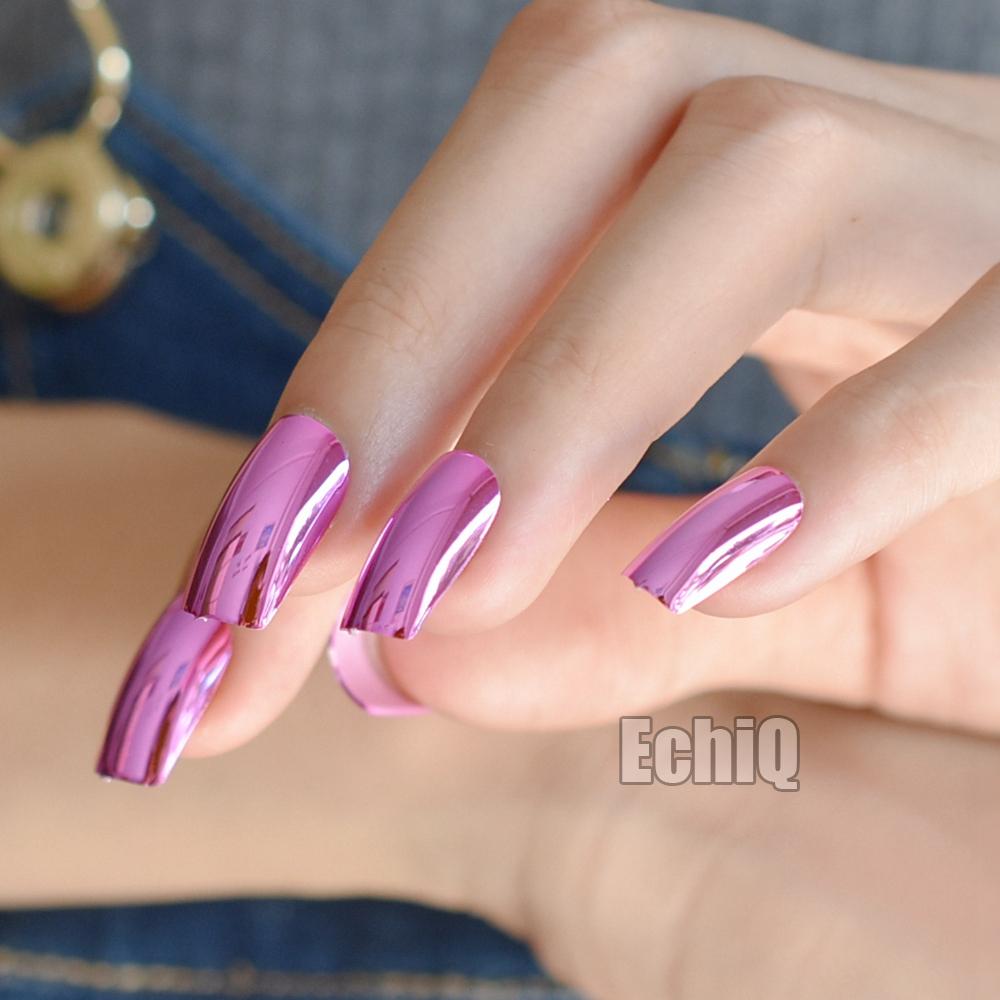 24pcs/kit Rose Red Metallic Fake Nails Long Mirror False Nails ...