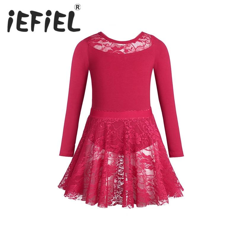Iefiel子供女の子ダンスウェア体操チュチュバレエレオタードドレス子供女の子バレエパフォーマンスドレスでレーススカート衣装