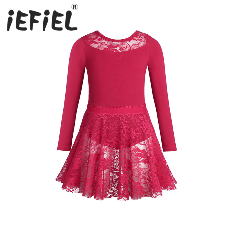 iEFiEL Kids Girls Dancewear Gymnastics Tutu Ballet Leotard Dress Children Girls Ballet Performance Dress with Lace Skirt Outfit