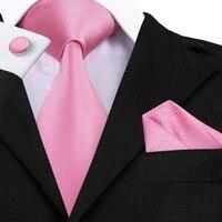 SN-401 New Style Solid Tie Men's 100% Jacquard Woven Neckties Handkerchief Cufflinks Set for Men's Formal Wedding Party Groom