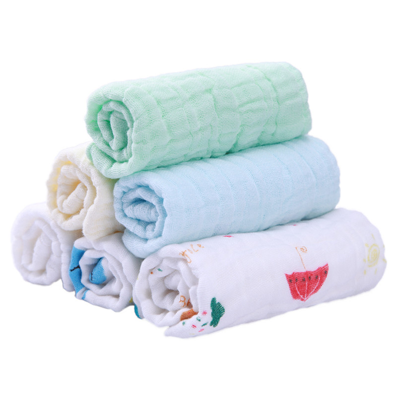 6pcs/Set Soft Cartoon Baby Washing Towel 6 Layers Gauze Child Absorbent Cotton Feeding Saliva Towel Kids Face Towel Handkerchief