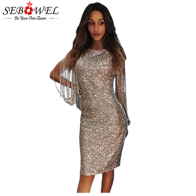 ac57064297427 US $28.55 45% OFF|SEBOWEL Sexy Sequin Party Dress Women Bodycon Gold Silver  Glitter Club Dress Female Tassel Sequin Dress Lady Shine Evening Gown-in ...