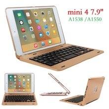 Nowy ABS dla iPad mini 4 etui z klawiaturą pokrywa A1538 A1550 sieci bezprzewodowej USB Bluetooth dla iPad mini 4 klawiatura pokrywa 7.9