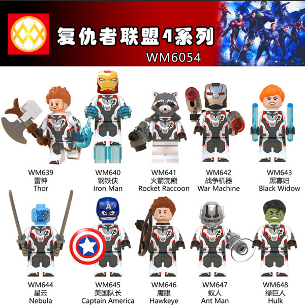 100PCS WM6054 Avengers 4 Endgame Infinity War Hawkeye Thor Raccoon War Machine Black Widow Nebula Ant