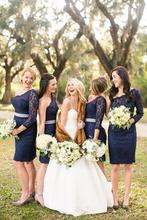 2016 New Arrival One Shoulder Dark Navy Blue Bridesmaid Dresses Lace With Long Sleeve Wedding Party Dress Gowns Knee Length C79