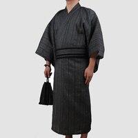 4 шт./компл. осень традиционные японские кимоно пижамы костюм Для мужчин ванная комната спа Халат хлопок халат Для мужчин дома Loungewear 062505