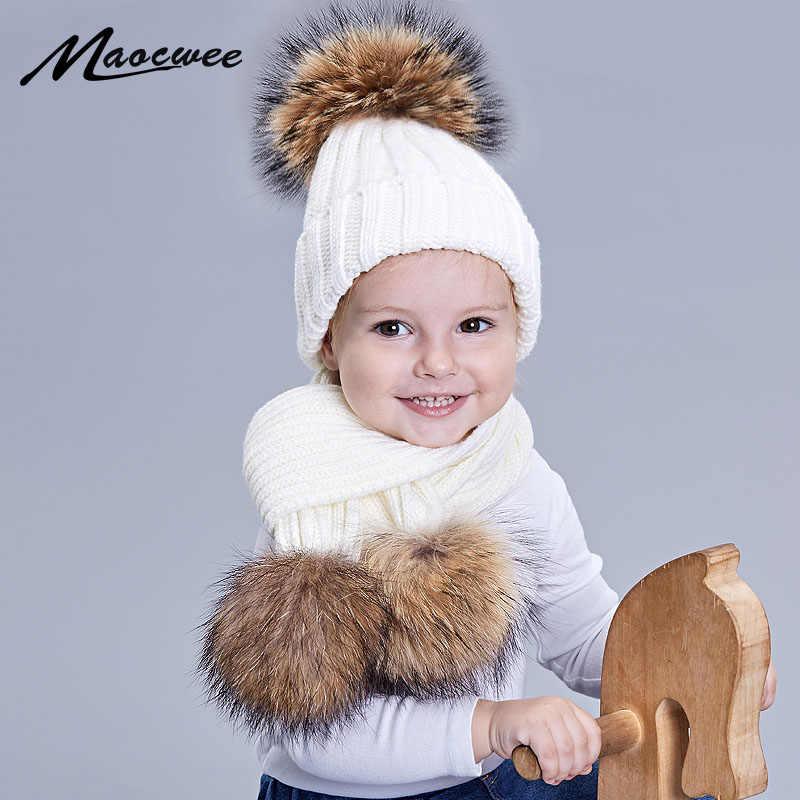 Toddler Baby Kids Boys Girl Winter Warm Knitted Pom Pom Beanie Hat Cap Scarf Set