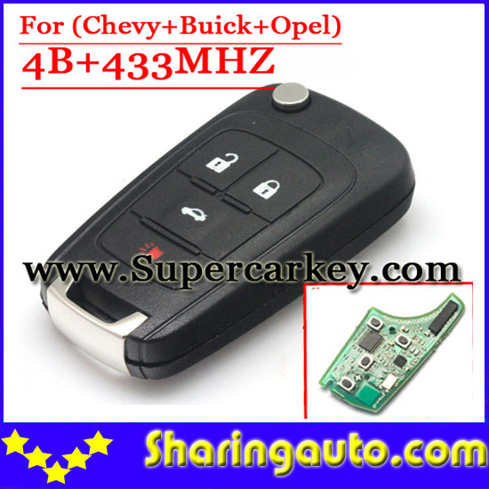 Free shipping 4 Button Flip Remote key control 433mhz with ID46 chip for Chevrolet Malibu , Camaro (1piece) free shipping 2 button remote key hu87 blade with id46 chip 433mhz for suzuki swift yy 1piece