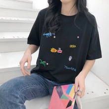 Shuchan Embroidery Letter Korean Cotton Summer Women T Shirt Casual Short Sleeve O-neck T-shirt Fashion White Tee Shirt Camiseta letter embroidery t shirt