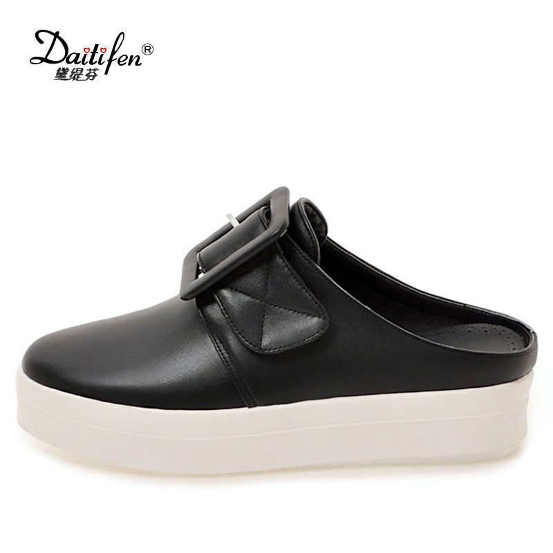Daitifen Women's Shoes Comfortable Flat Shoes Summer Casual Creepers Platform Shoes Slingbacks Loafers Shoes Zapatos Mujer Black 2017 hot fashion loafers women casual shoes new breathable mesh flat platform women comfortable wedges heels shoes zapatos mujer