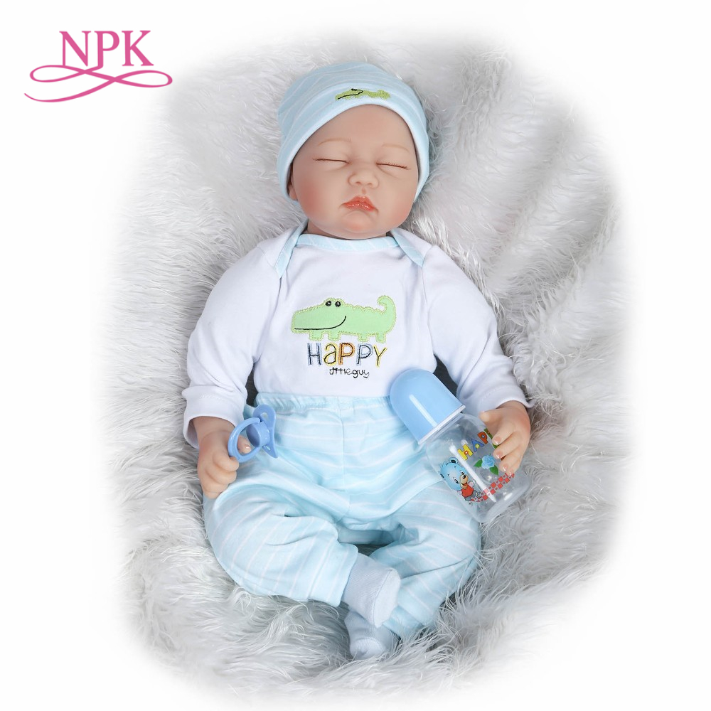 NPK realista muñeca de vinilo de silicona suave toque real 22inch55cm dulce muñeca para bebe niñas-in Muñecas from Juguetes y pasatiempos    1