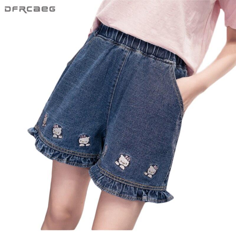 Kawaii Cartoon Print High Waisted Denim   Shorts   2018 Summer Plus Size Girls   Short   Jeans Feminino Ruffles Pockets Women Bermudas