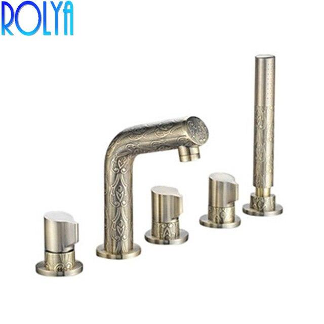ROLYA WholesaleHigh Quality Antique Style 5 Holes Deck Mounted Roman Bronze Tub Faucet Bath Filler Mixer Taps