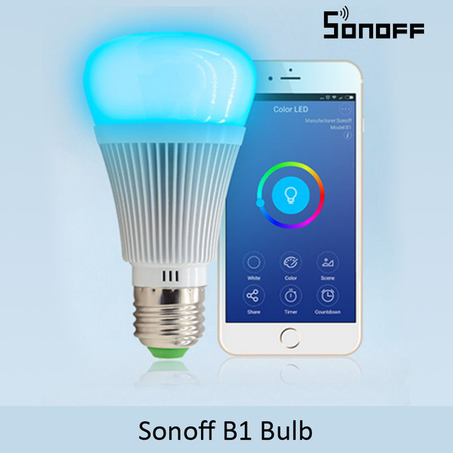 Sonoff B1 Dimmer Led Bulb Wifi Smart Remote Control Light Bulbs Led RGB and white color Changing Light Bulb Works With Alexa