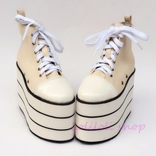 Princess sweet lolita shoes Japanese design customized special shaped Beige canvas  black stripes platform shoes yd001