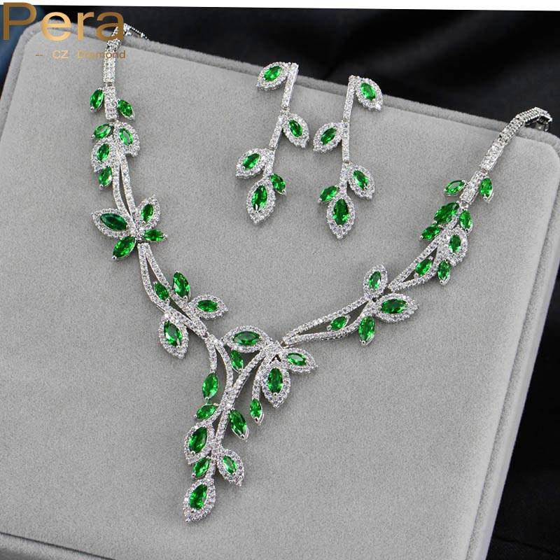 Pera CZ Brand Nigerian And African Women Big Leaf Shape Wedding Party Costume Jewelry Set With Natural Green Cubic Zirconia J138 цена