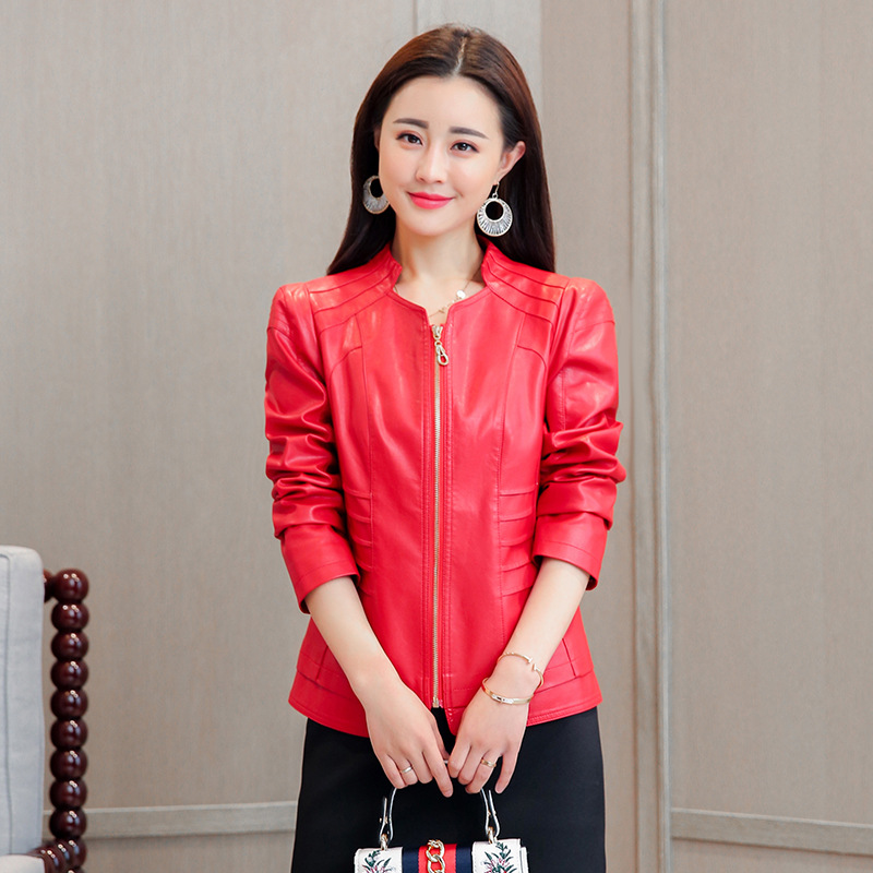 2018 New Women   Leather   Jacket Slim Fashion M-5XL Plus Size High Quality Pu   Leather   Jacket Coat Female Faux Jacket