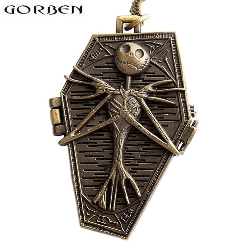Tim Burton The Nightmare Before Christmas Jack Skellington Quartz Pocket Watch Vintage Bronze Chain Pendants Clock For Women Men