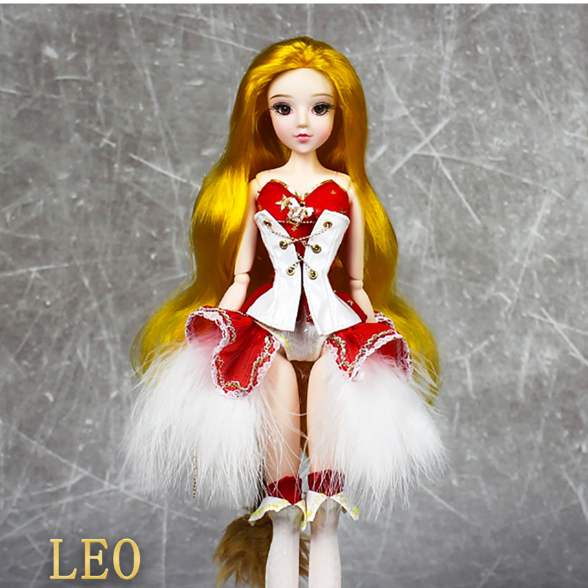 MMG Girl blyth doll BJD joint body 12 constellations LEO with outfit boots stand baby toy