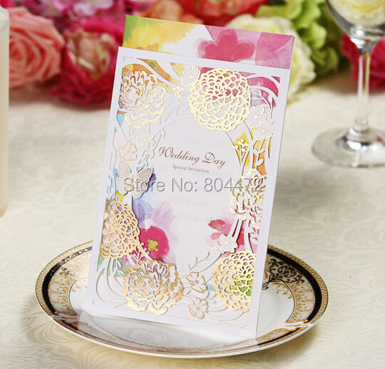 (100 pieces/lot) New Style Elegant Laser Cut Wedding Invitations Cards With Envelopes Blank Inner Pages