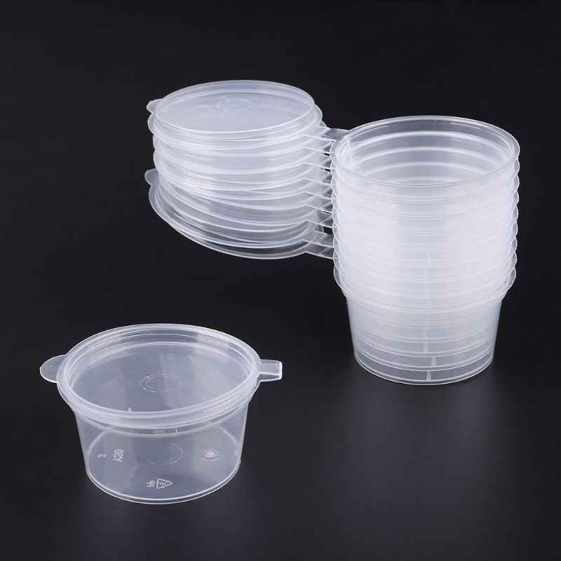SFVEFVD 30ml 10pcs Disposable Clear Plastic Sauce Pot Chutney Cups Slime Storage Container Box With Lids Kitchen Organizer