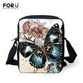 Forudesigns messenger bag para as mulheres designer borboleta impressão espanha saco ocasional fêmea mini lady crossbody sacos bolsos mujer