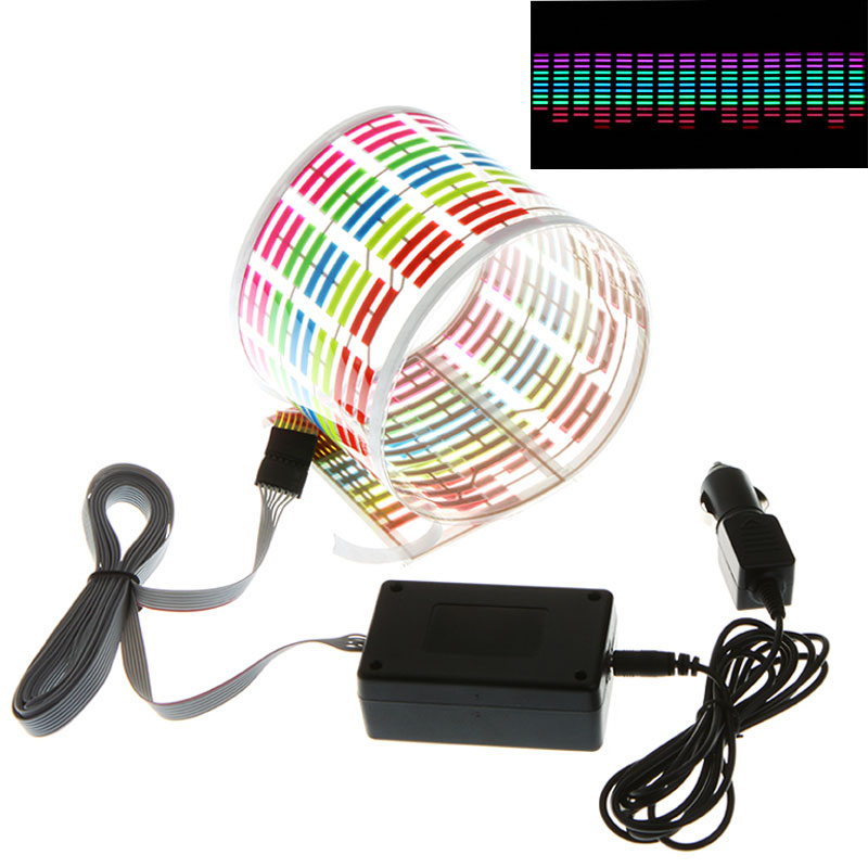 New Car Styling Designed Car Sticker Music Rhythm LED Flash Light Lamp Sound Activated Equalizer Car Atmosphere Led Light