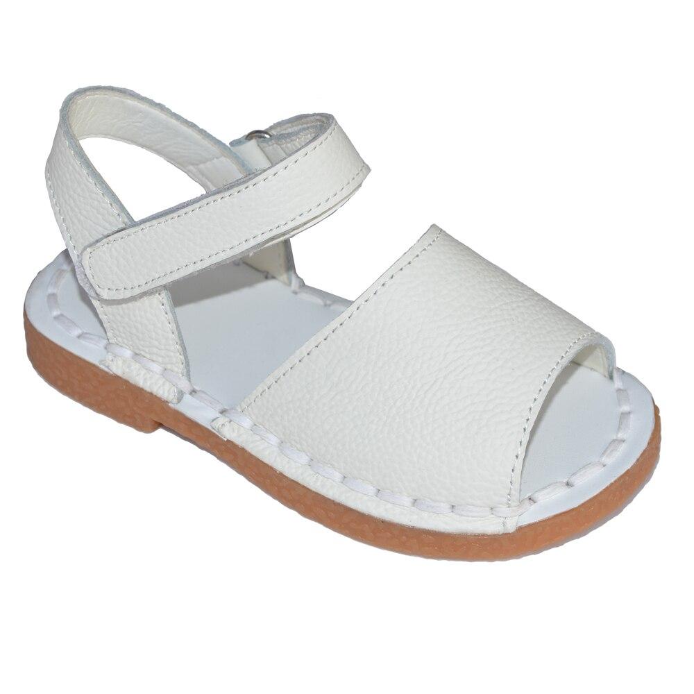Bébé filles sandales 2017 d'été enfants rose blanc marine classique pour petites filles en bas âge chaussures handsewing chaussure plaine sandales