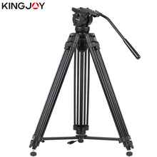 KINGJOY Official VT-2500+VT3510 Professional Photographic Travel Aluminum Video Camera Tripod DSLR Stand Holder Fluid Damping