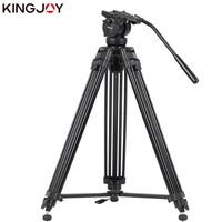 KINGJOY Official VT 2500+VT3510 Professional Photographic Travel Aluminum Video Camera Tripod DSLR Stand Holder Fluid Damping