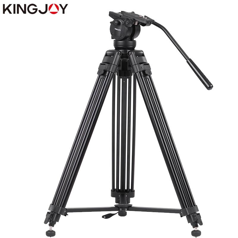 KINGJOY Officiel VT-2500 + VT3510 Photographique Professionnel En Aluminium de Voyage Trépied de Caméra Vidéo DSLR Support Liquide D'amortissement