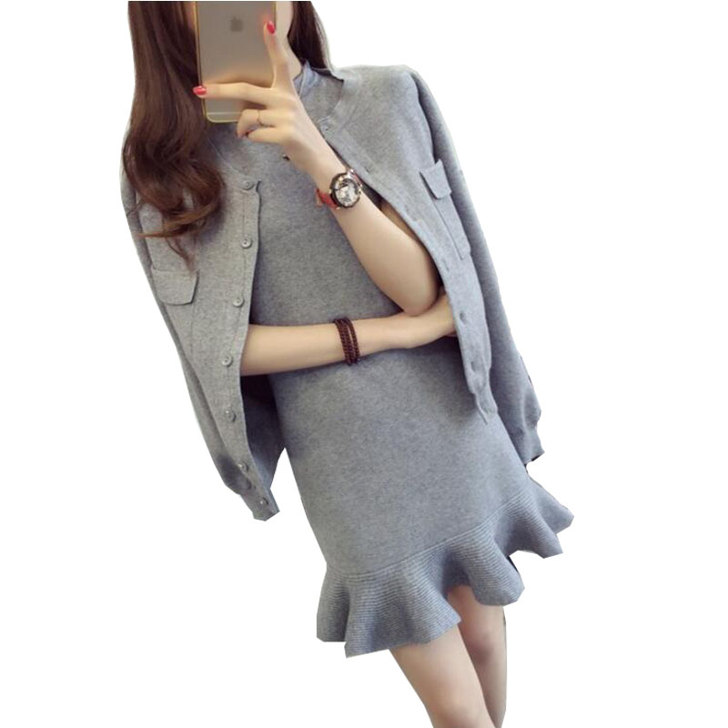 Autumn Winter Knitted two pieces Dress Set Women Knitted Dress +Cardigan Sweater 2 Pieces Set Women Dress Suits for Ladies Pink