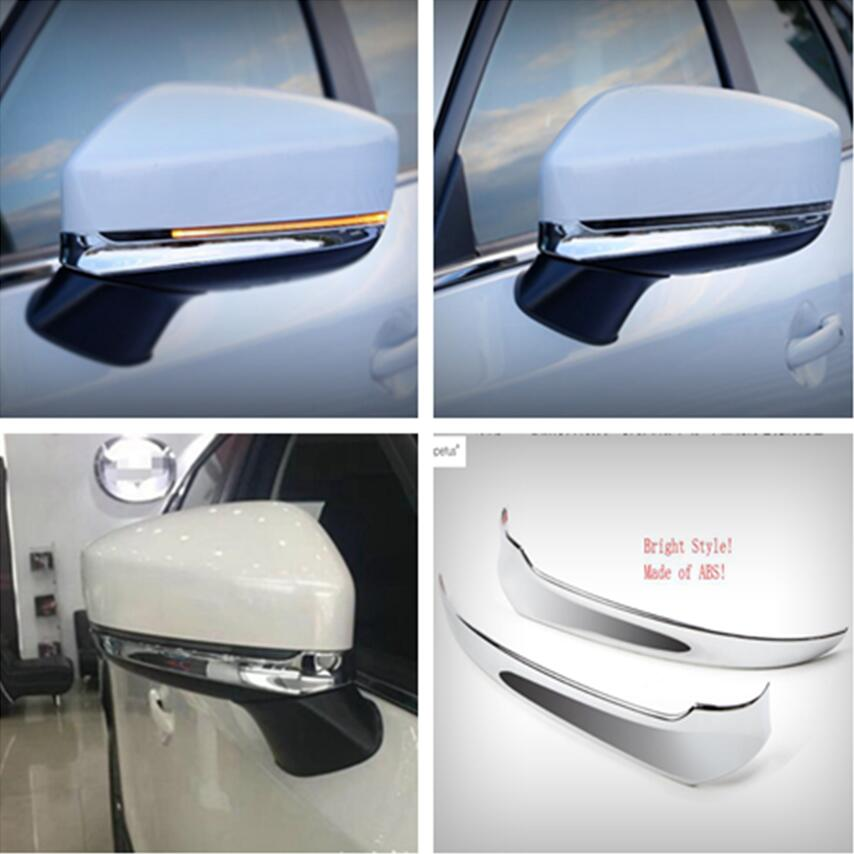 Lapetus Accessories Fit For <font><b>Mazda</b></font> <font><b>CX</b></font>-<font><b>9</b></font> CX9 <font><b>2017</b></font> 2018 <font><b>2019</b></font> ABS Outside Rearview Mirror Strip Molding Cover Kit Trim / Chrome Kit image