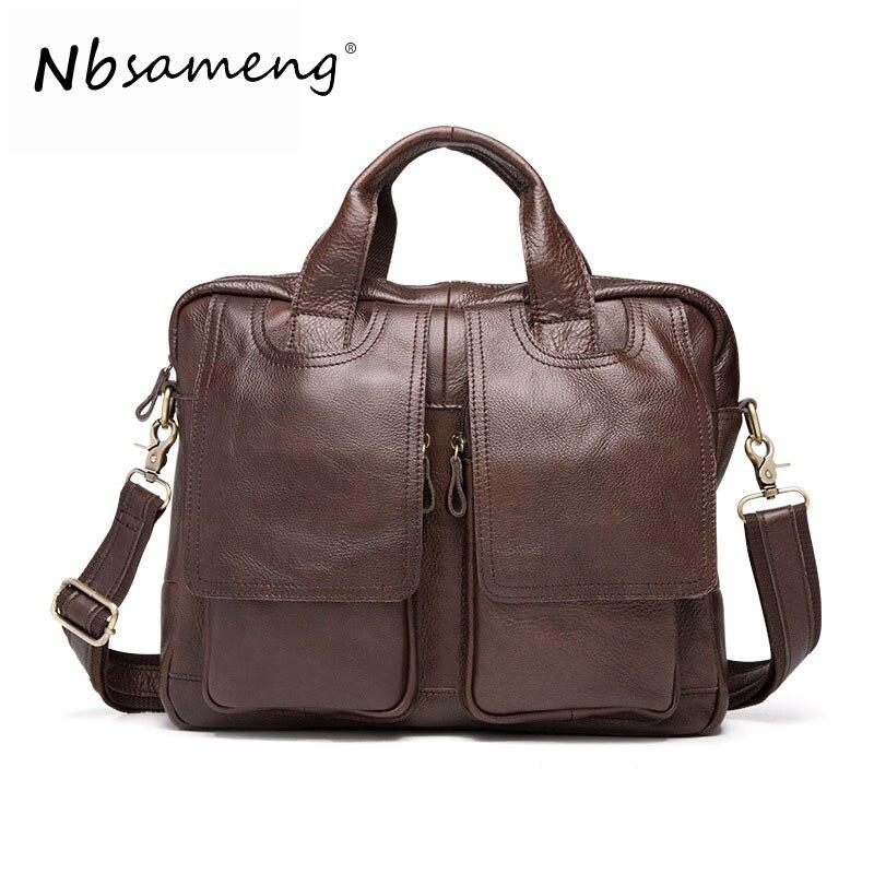 NBSAMENG Men Genuine Leather  Messenger Bag  Crossbody Shoulder Bag Business Tote Briefcases Handbags