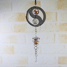 1× 3D Metal Hanging Wind Spinner Wind Chime Tail Glass Ball Center Decor 2019(China)