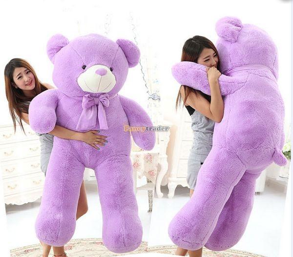 Fancytrader 1 pc 63\'\' 160cm Giant Cute Stuffed Soft Plush Lovely Fat Lavender Teddy Bear, Free Shipping FT50741 (1)