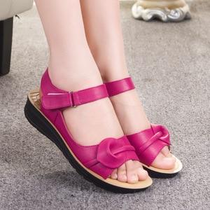 Image 2 - Mothers Platform Sandals Summer Flat Shoes Woman Round Toe Fashion Wedges Female Mum Flat Sandal Ladies Casual Footwear