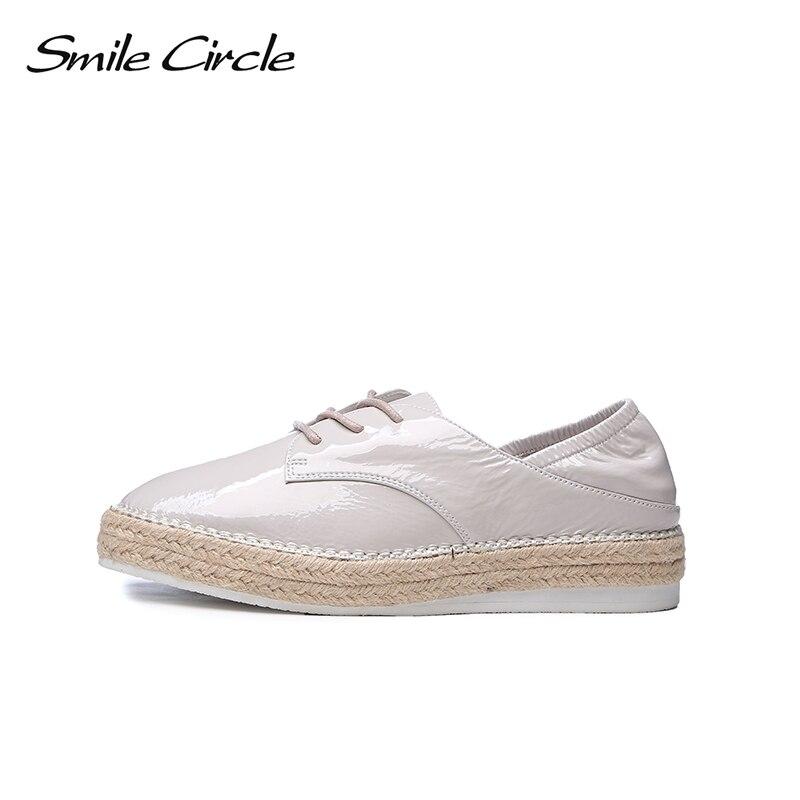 Casual Chaussures En Sourire Verni Cercle Femmes blanc Womn Lacets Noir À Oxford Véritable Cuir 2018 Appartements wTxRpq7