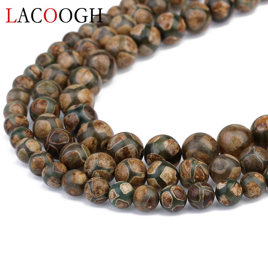 Fashion 1Strand/lot Round Ball Loose Spacer DZI Beads 8mm 10mm 12mm Brown Color for Handmade Jewelry Making Findings Accessories