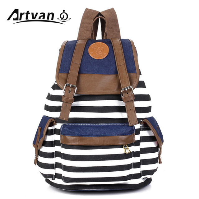 New Fashion Striped Canvas Printing Backpack School Bag For Girls College  Mochilas Women Casual Travel Bagpacks 7b03ada293