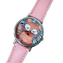 Mulher encantadora Pequena Raposa Relógio De Couro Rosa