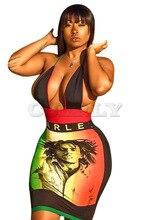 Cuerly 2019 women summer letter character print halter v-neck open back bodycon sexy midi dress night club party mini dresses tribal print open back mini bodycon dress