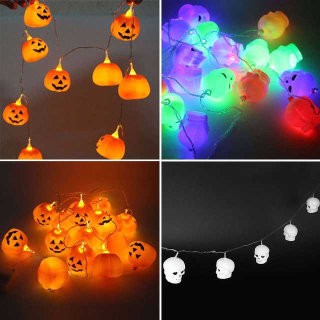 led pumpkin lights string lighting chains lanterns halloween decoration plastic